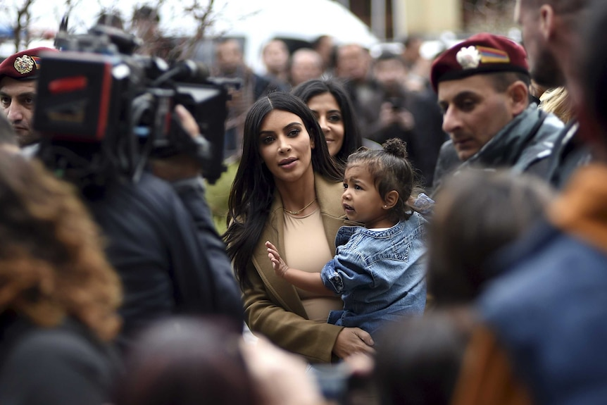 Kim Kardashian with her daughter North West