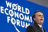 Jair Bolsonaro, President of Brazil addresses the annual meeting of the World Economic Forum in Davos in Switzerland.