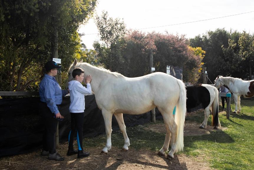 Boy and teacher stand next to horse, boy pats horse.