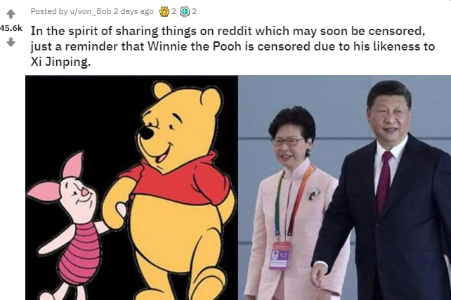 Anti-China image posted on the popular r/pics subreddit comparing Chinese president Xi Jinping to Winnie the Pooh.