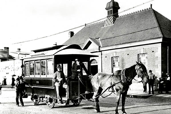 Archive photo of a horse drawn tram