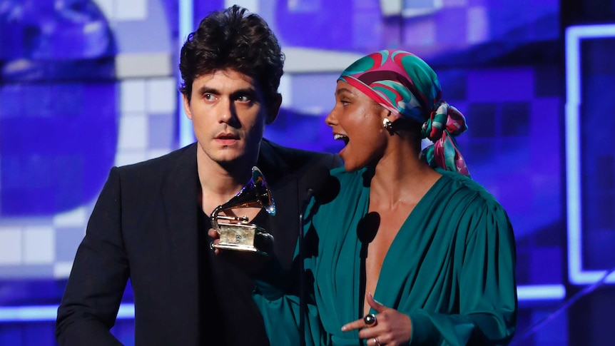 Mayer and Keys were props in an Academy segment about inclusivity. (Reuters: Mike Blake)