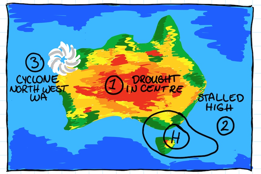 hand drawn map of Australia with cyclone over north west WA, red in the centre and high in the south east