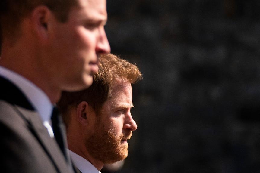 Prince William and Prince Harry walk in procession at Prince Philip's funeral.