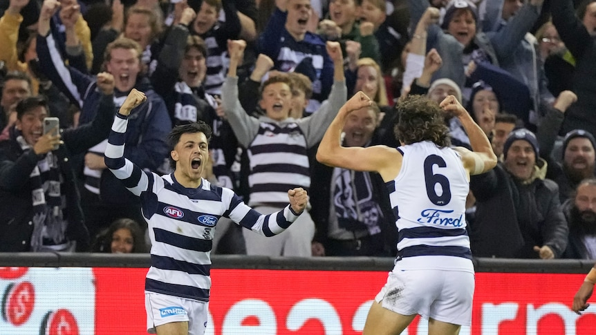 Two Geelong AFL teammates raise their arms in joy as they and fans in the crowd celebrate a goal.