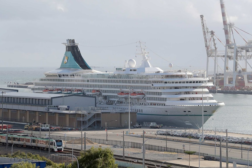The stern of the Artania cruise ship as it sits docked at Fremantle Port.