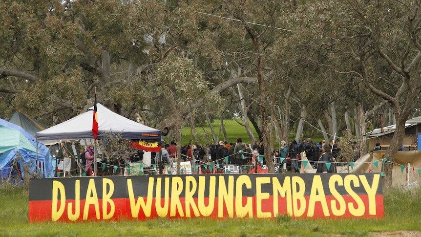 One of the protest camps set up along the section of the Western Highway near Ararat.
