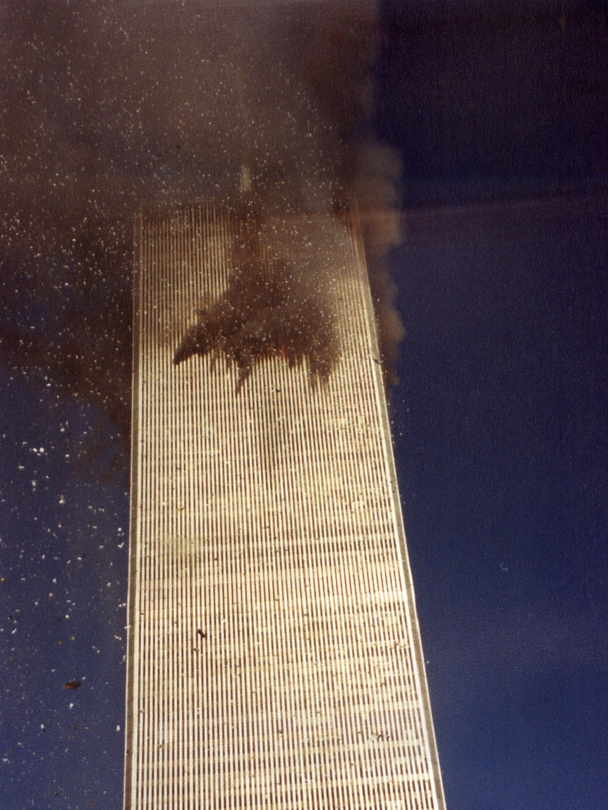 The north tower of the World Trade Centre in New York shortly after Flight 11 hit it on September 11, 2001.