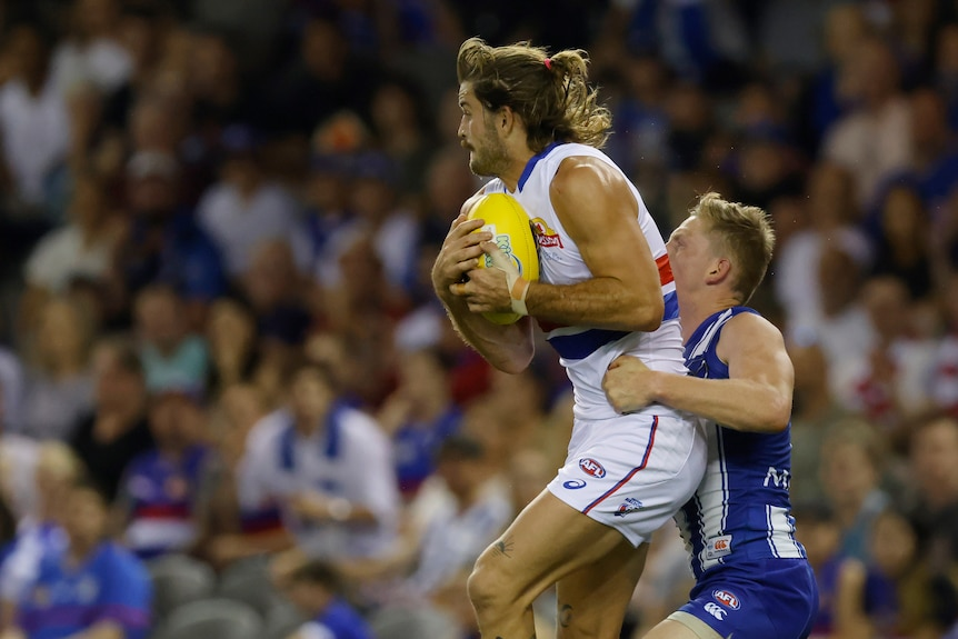 Josh Bruce takes a mark in an AFL game against the North Melbourne Kangaroos