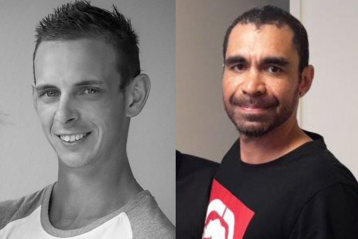 A composite photo of two men.