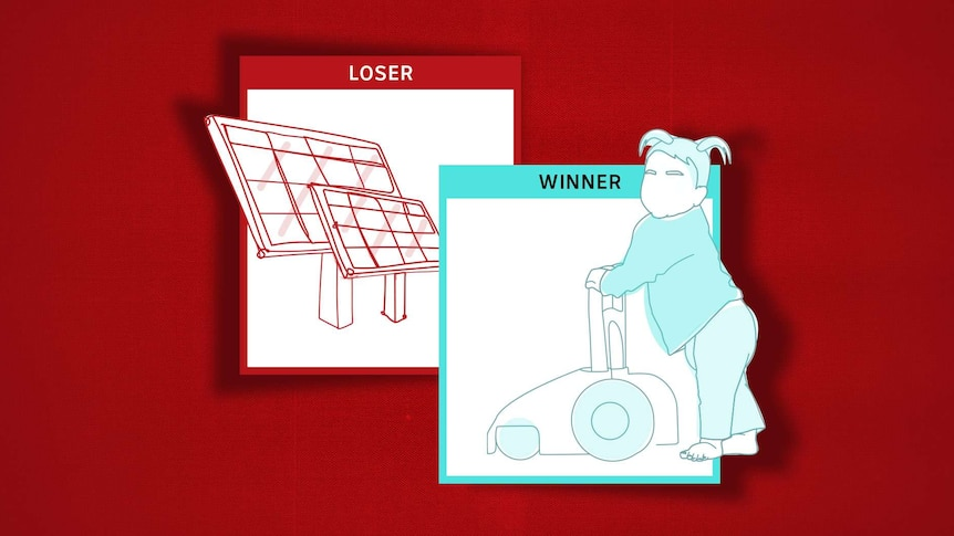 Illustration of winner with picture of girl pushing cart for childcare and loser card of solar panels representing renewables.