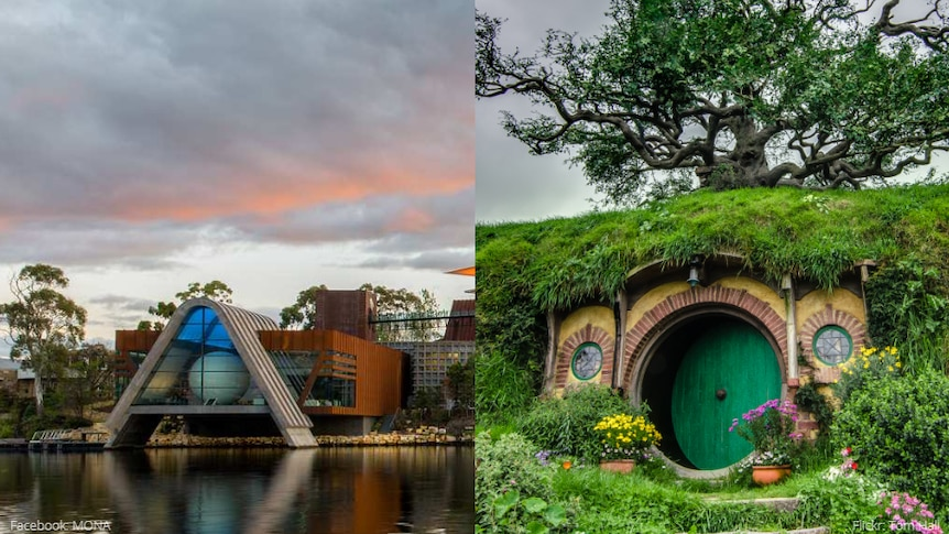 A composite image of MONA in Hobart and Hobbiton in New Zealand.