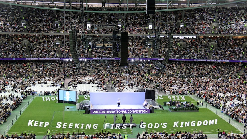 Tens of thousands of Jehovah's Witnesses gather at Melbourne's Docklands Stadium.