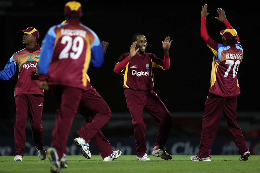 Devastating debut ... Garey Mathurin claimed 3 for 9 in his first spell at the international level.