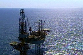 An oil rig at sea