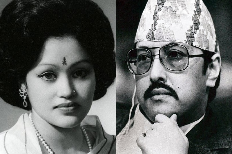 A composite image of King Birendra and Queen Aishwarya