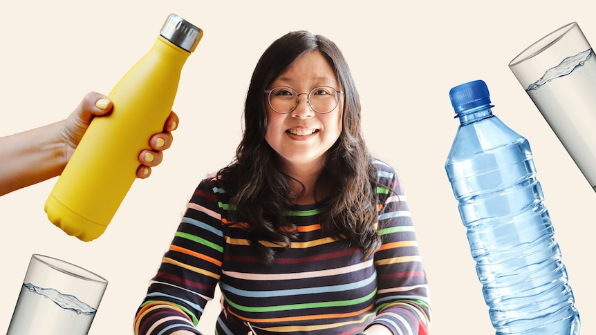 Jennifer Wong surrounded by glasses and a water bottle, in a story about trying to drink 8 cups of water a day.
