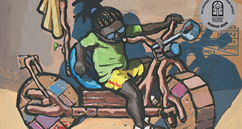 A drawing of a young girl sitting on a bike made from wood and bits of metal.