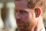 A close up of Prince Harry, he is looking to the left