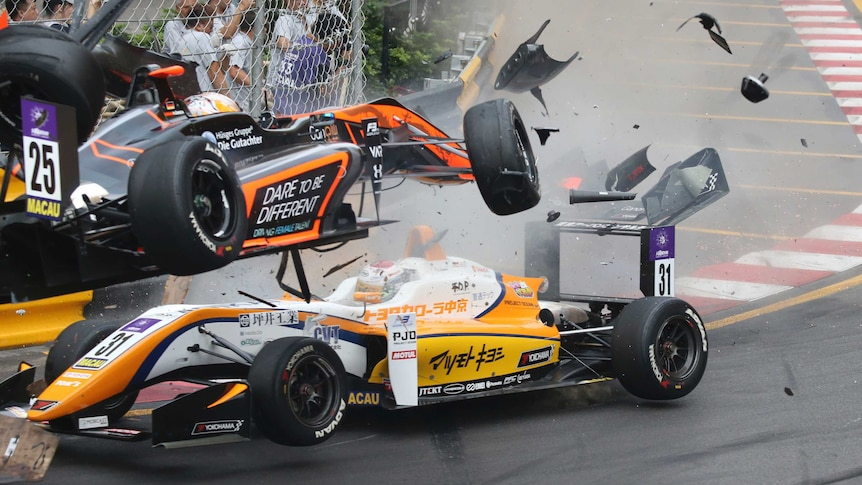 Sophia Floersch was out of control when she launched off Sho Tsuboi's car. (Photo: AP)