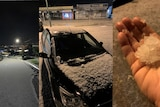 A composite image of a street white with hail, a car and yard covered in hail and a hand holding a big chunk of hail.