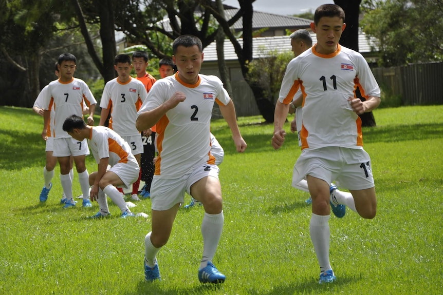 North Korea's hearing impaired football team at training ahead of their clash with Australia