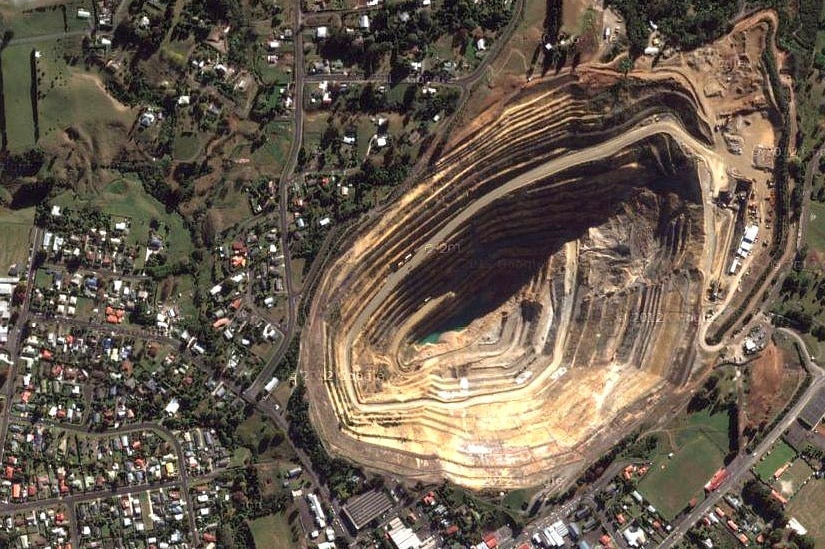The gold mine next to the New Zealand town of Waihi.