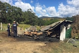 Police at the Freedom Centre after the suspected arson attack January 8, 2017