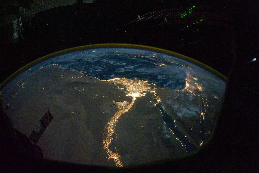 Lights of Egypt as seen from ISS