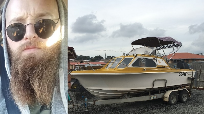A split image of a bearded man wearing round black sunglasses and a yellow and white boat.