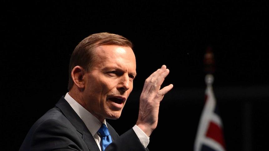 Tony Abbott speaks during Coalition election launch
