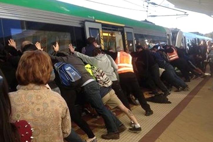 Train pushed off leg