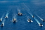 HMA Ships taking part in a trilateral passage in the Philippine Sea with US Navy ships and the Japanese Maritime Self-Defence.
