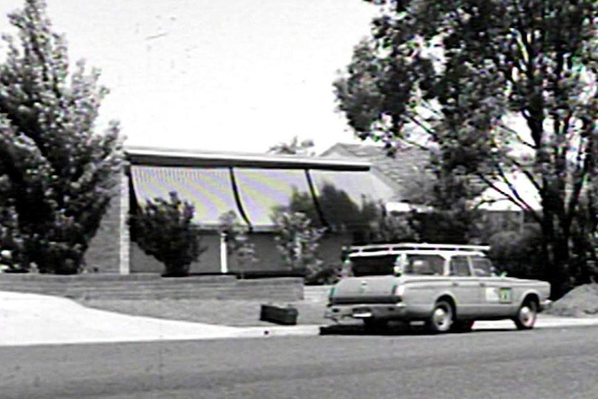 A black and white image of the exterior of Gough Whitlam's home in 1967.