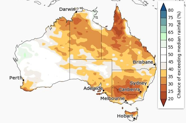 A map of Australia showing the chance of above average rainfall for June to August across the country.