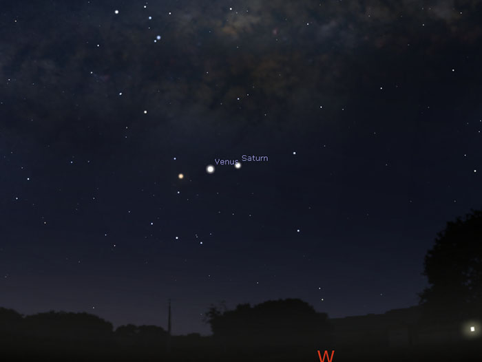 Sky map of Venus, Saturn and Aldebaran