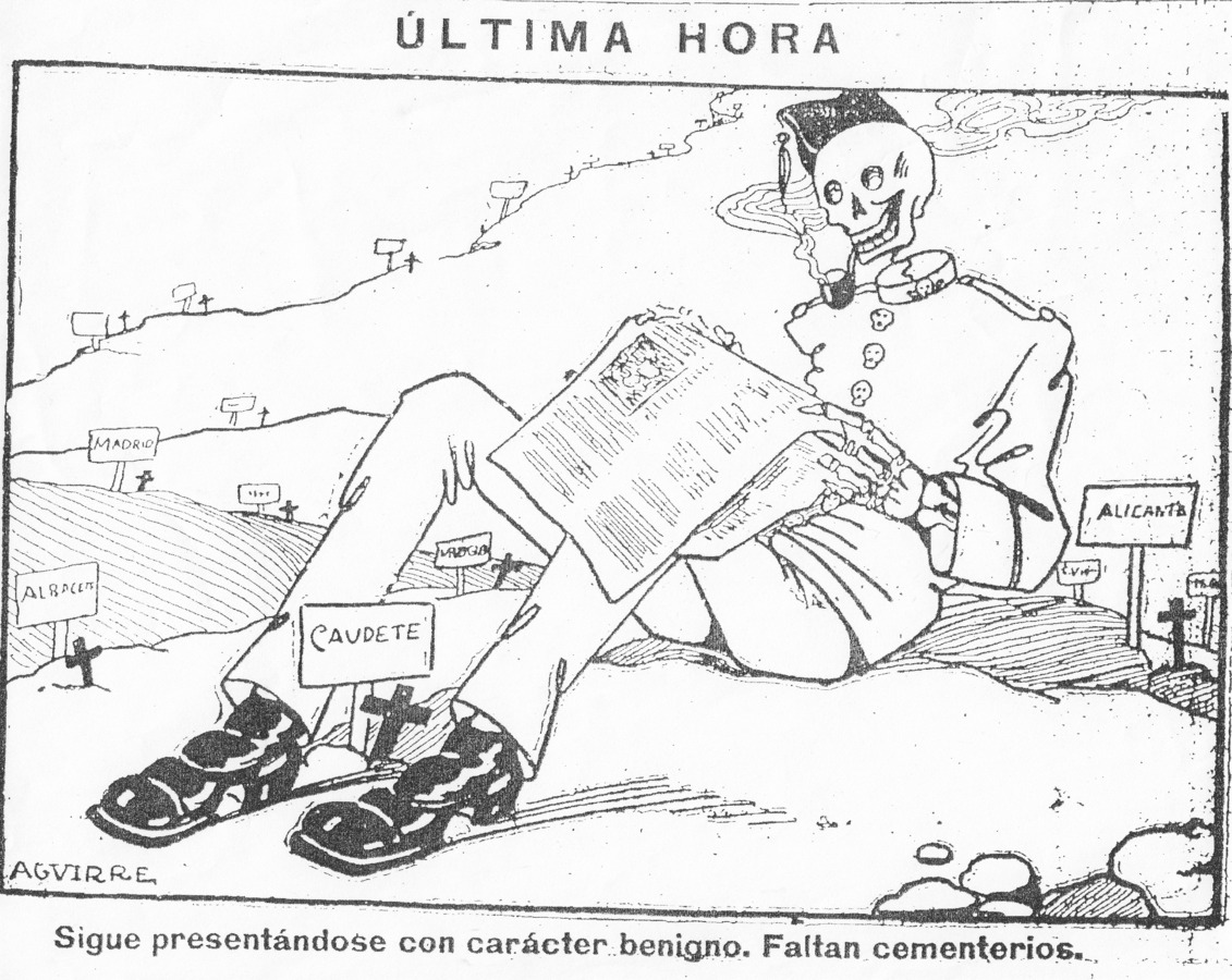 A skeleton wearing a soldier's uniform and smoking a pipe reads a newspaper. Signs to Spanish cities dot the landscape behind.