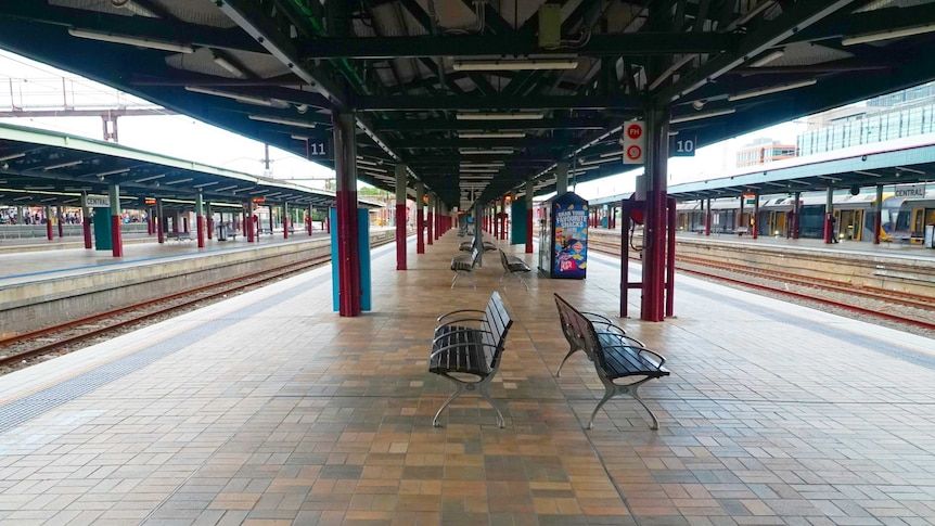 A photo of an empty train station in Sydney.