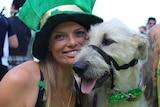 Sarah Hemming and her Irish wolfhound Olive