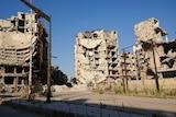 Destroyed buildings in a neighbourhood of Homs