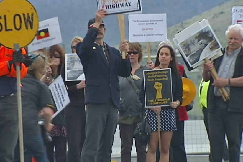Aborigines protest at the opening of the Brighton Bypass, Tasmania Nov 12, 2012
