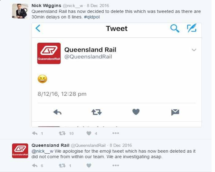 Amid commuter chaos late last year, Queensland Rail tweeted a picture of a laughing emoji.