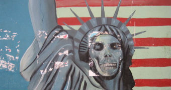 Street art painted on the walls of the former American embassy in Iran shows Lady Liberty's face as a skull