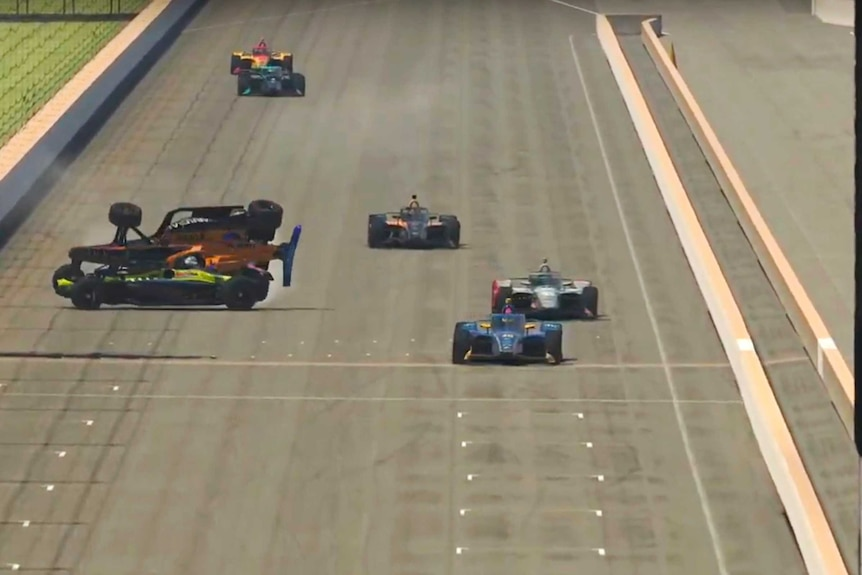 Two cars collide on the left of the track, allowing another car to come through to win online race.