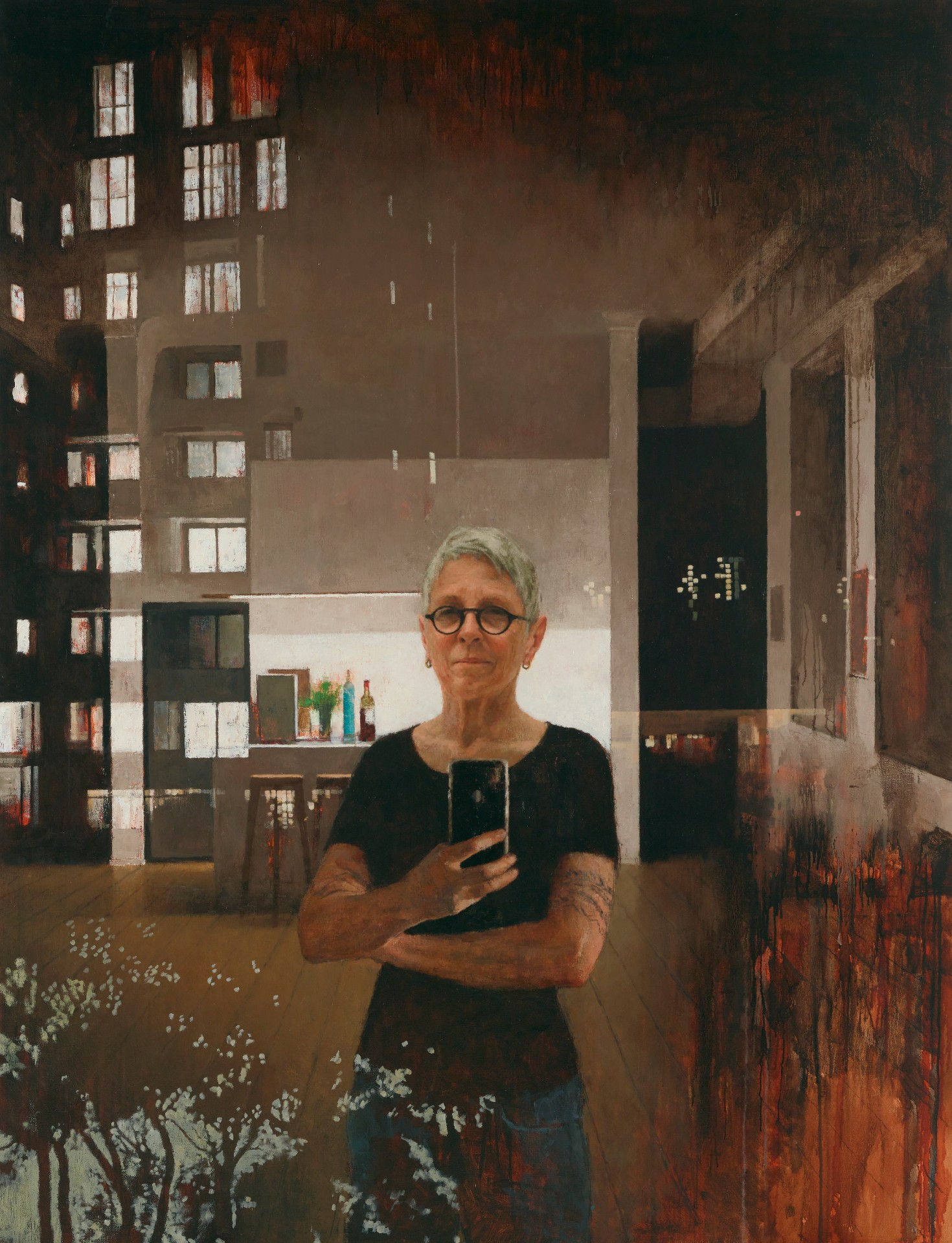 A painting of Jude Rae's reflection in a window, taking a selfie with her phone, showing the reflection and the view outside