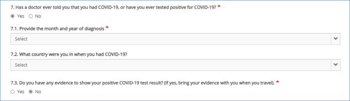 屏幕截图显示了几个问题,包括您在何时何地被诊断出患有 COVID-19。