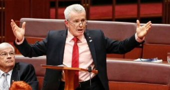 One Nation Senator Malcolm Roberts gestures with his arms outstretched. His colleague Brian Burston is behind him.