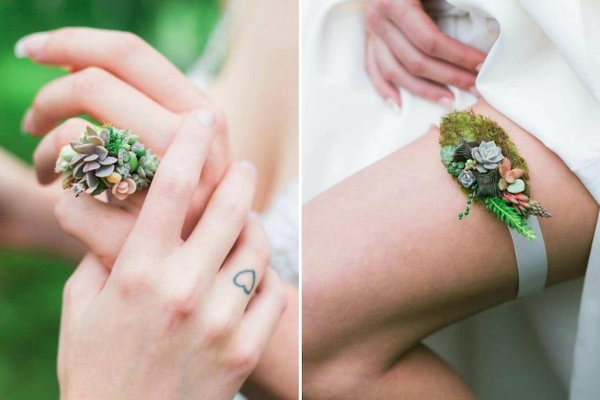Succulent wedding ring and succulent garter.