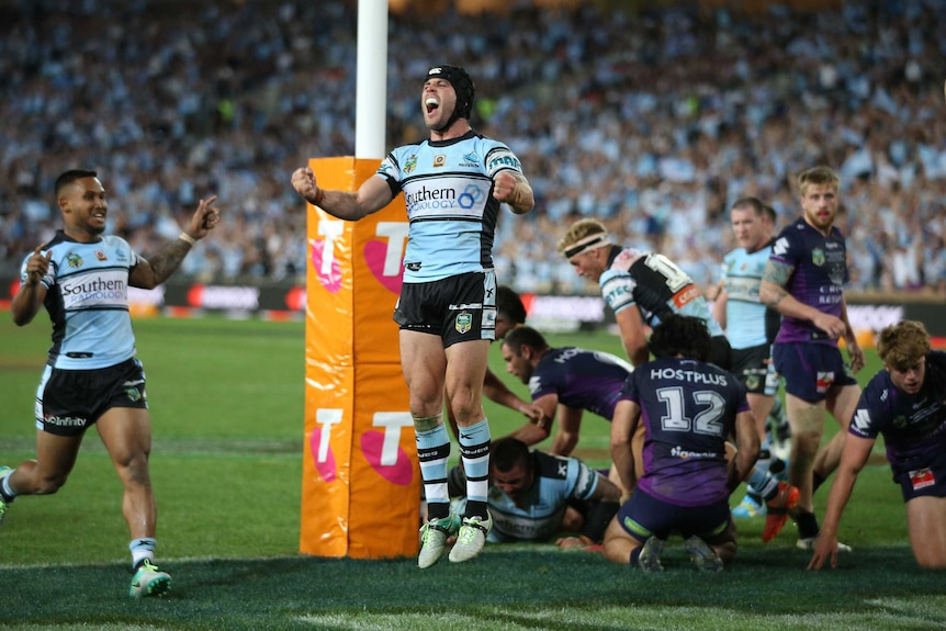Michael Ennis celebrates a Cronulla try in the grand final