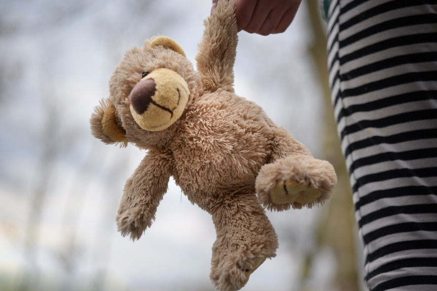 A child holding a brown teddy bear